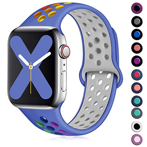 Henva Compatible with Apple Watch Band 44mm 42mm, Replacement Accessories Breathable Sport Wristbands with Air Holes for iWatch Series 5, Series 4, Series 3, Series 2, Series 1, Blue/Colorful, M/L
