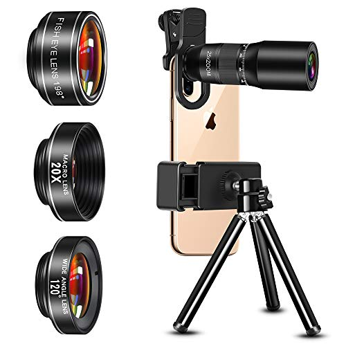Phone Camera Lens, MU BAMBOO 9 in 1 Phone Lens Kits, 25X Zoom Telephoto Lens, 20X Macro Lens, 120° Wide Angle Lens and 198° Fisheye Lens, Compatible with iPhone 11/11 Pro/X/XR/XS Max/8+, and More