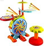 WolVol Electric Big Toy Drum Set for Kids with Movable Working...