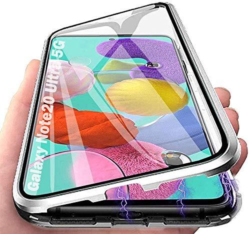 Orgstyle Funda para Samsung Galaxy Note 20 Ultra 5G, Absorción Magnética Cubierta Vidrio Frontal y Posterior Case Marco Metal Súper Delgada Protección de 360 Grados Funda, Plata