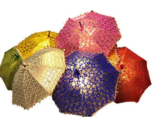 GANESHAM Indischer mehrfarbiger Strandschirm, UV-Schutz, Sonnenschirm, Stickerei, Boho-Sonnenschirm, indischer Hochzeitsschirm, 10 Stück