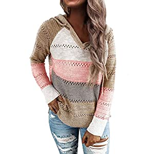 Women's Color Block Long Sleeve Hollow Out Hoodie Sweater Lightweight Sweatshirts Tops