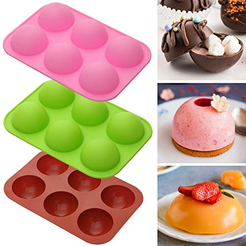 Silicone Molds for Hot Chocolate Bombs, Cake, Jelly, Dome Mousse, Pudding, Handmade Soap Mould DIY Cookies Baking Mold Semi Sphere,Non Stick (3 Pcs)