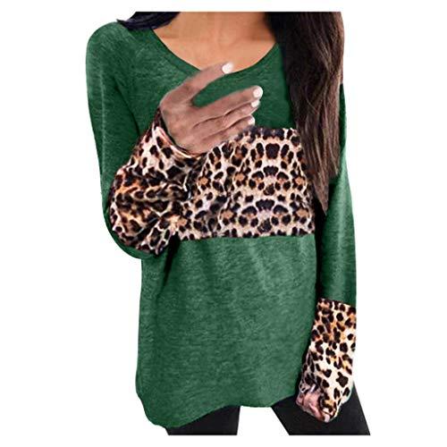 Zarupeng T-shirt met lange mouwen voor dames met luipaard en ronde hals, casual losse blouses tuniek bovenkant sweatshirt jumper
