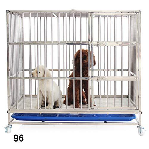 Zhyaj Gabbia di Transporto Pieghevole per Cani Cuccioli con 2 Porte E Vaschetta Rimovibile in Plastica, Puleggia Inferiore (Accessorio),96:93 * 63 * 80CM