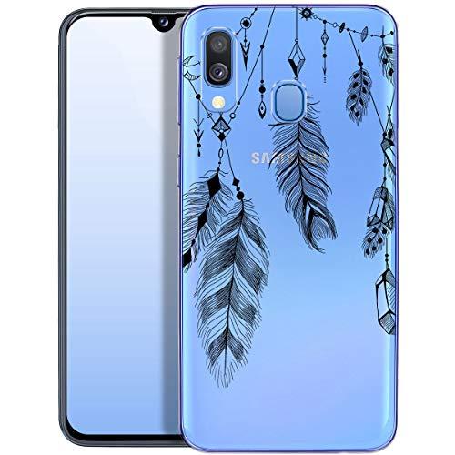 Fundas para iPhone QULT Compatible con Samsung Galaxy A40 – Funda de Silicona Transparente con Lindos Motivos – Fundas iPhone Ultra Finas Pluma
