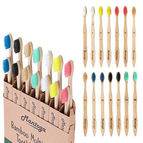 Pack de 14 cepillos de dientes de bambú biodegradables con cerdas suaves y reciclables, pack familiar, regalo ecológico y orgánico