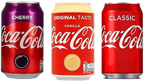 Coca Cola Cherry, Coca Cola Vanilla, Coca Cola je 24 x 0,33 L Einweg-Dosen (72 Dosen gesamt) Inkl. Gratis FiveStar Kugelschreiber