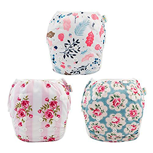 babygoal Reusable Swim Diaper for Girls, One Size Adjustable and Washable Swim Underwear fits Babies 0-2 Years and Swimming Lessons 3SD01