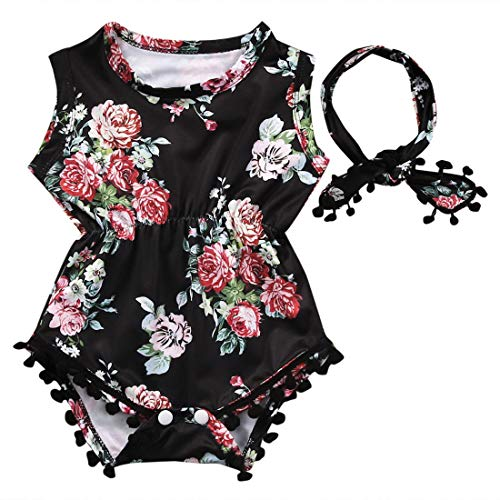 Infant Toddler Baby-Girls Floral Romper Sleeveless Tassel Bodysuit + Headband (0-6 Months, Black)