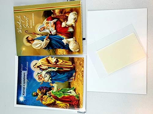 2 Stück Polnische Weihnachtskarte Grußkarte zu Weihnachten mit Oblaten/ 2 kartki świąteczne z Oplatkiem