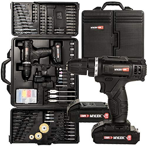 Mylek 18V Cordless Drill Electric Combi Set, 1500mAh Lithium Ion Battery Pack x 2, Variable Speed, LED Light, Anti-Shock Body, 151 Piece Accessory Kit and Carry Case