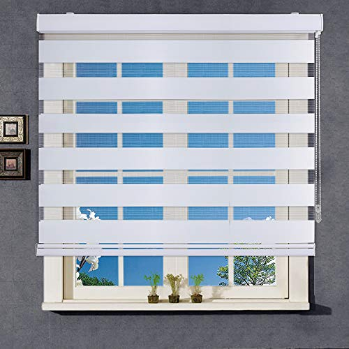 WYMO Zebra Blinds for Windows – 23 x 64 inch - Sheer Horizontal Window Blinds and Shades for Daytime and Nighttime - Light Filtering Roller Shades for Windows with White Valence, 20 to 72 inch Wide