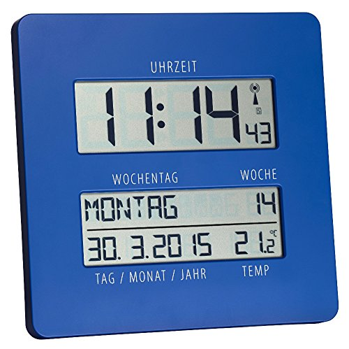 TFA TimeLine Funkuhr mit Temperatur 60.4509.06 blau übersichtliche Anzeige zur einfachen Zeitorientierung mit ausgeschriebenem Wochentag und vollständigem Datum