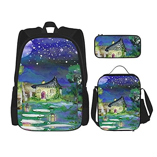 Mom Gifts 2020 - Mochila escolar especial con 3 piezas, bolsa escolar + estuche + bolsa de almuerzo con impresión 3D, lona para viajes, camping, mochila juvenil