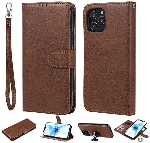nancencen Kompatibel mit iPhone 12/12 Pro (6.1 Zoll) Handyhülle, Magnetische TPU 2 in 1 Wallet (Karten Slot) Schutzhülle PU Leder Flip Cover Lederhülle Hülle - Braun