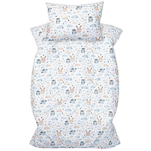 Amilian - Biancheria da letto per bambini, 2 pezzi, 100% cotone, 100 x 135 cm, federa 40 x 60 cm, con chiusura a sacco