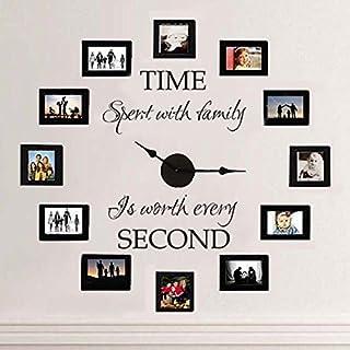 Vinilo adhesivo con forma de reloj y marcos de fotos, con texto en inglés «Time Spent With Family» para sala de estar (no incluye reloj), de Mairgwall, vinilo, negro, 39