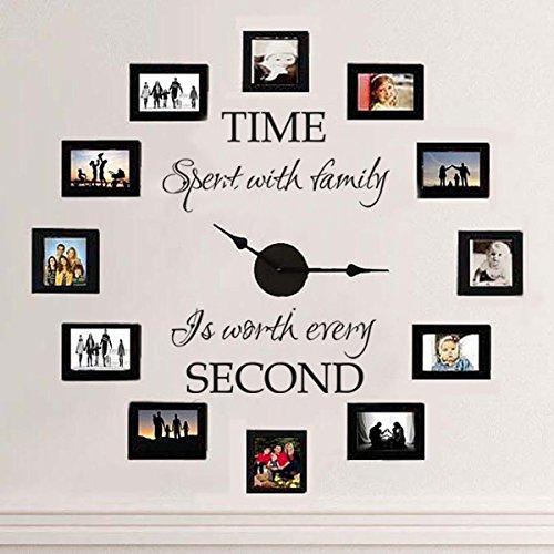 """MairGwall Vinyl-Schriftzug für Wohnzimmer """"Time spent with family is worth every second"""", Uhr und Bilderrahmen nicht im Lieferumfang enthalten, Vinyl, schwarz, 39"""