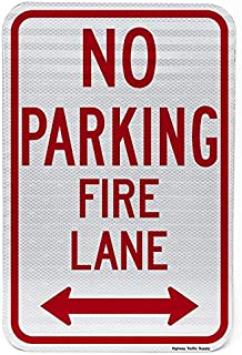 """No Parking, Fire Lane Sign with Arrow 