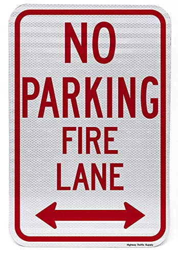 """No Parking, Fire Lane Sign with Arrow   Parking Lot & Street Sign   Enforces Parking Rules   Engineer Grade   3M Reflective Sheeting & Inks   Rust-Free Aluminum   Made in USA   12"""" x 18"""""""