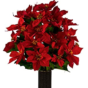 Red Poinsettia Artificial Bouquet, Featuring The Stay-in-The-Vase Design(c) Flower Holder (LG1019)