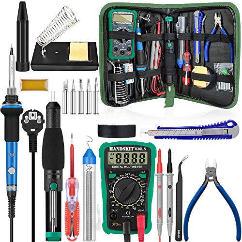 Kit del Soldador,Soldadores eléctricos,Kits de soldadura de Temperatura Ajustable,Multímetro digital,5 PCS Puntas,bomba...