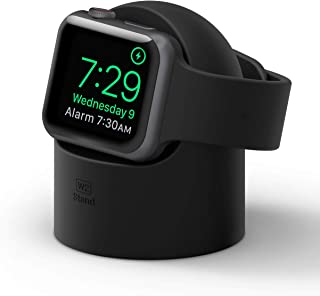 elago W2 Stand Compatible with Apple Watch Series 5, Series 4, Series 3, Series 2, Series 1, 44mm, 42mm, 40mm, 38mm - Charging Dock Station, Supports Nightstand Mode, Cable Management, Scratch-Free Silicone (Black)