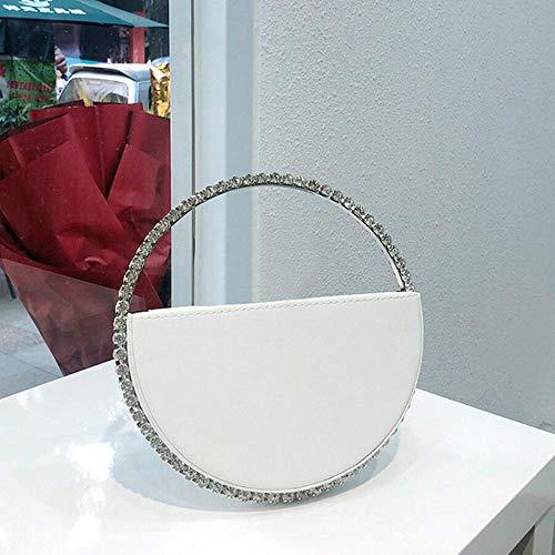 EDCV Monedero para Mujer Bolso de Media Luna Bolso de Noche Circular de Diamantes de Color Mujer Mango Redondo Diamante de imitación, Blanco Diamante Blanco, L21.5 W3.5 H12.5 cm