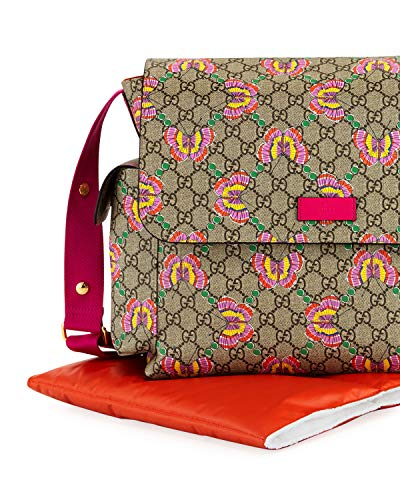 Gucci Freesia Print GG Canvas Diaper Bag Beige Multicolor New Butterfly Pink Butterflies