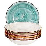 MamboCat Teller-Set Rimini für 6 Personen   Suppenteller Tief   650 ml   Salat-Teller   Runde Servier-Schale   Steingut-Schüssel   Handbemalt   Mehrfarbig