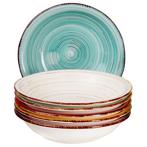 MamboCat Teller-Set Rimini für 6 Personen | Suppenteller Tief | 650 ml | Salat-Teller | Runde Servier-Schale | Steingut-Schüssel | Handbemalt | Mehrfarbig