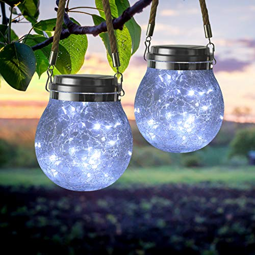 Hanging Solar Lights Outdoor, 2-Pack 30 LED Outdoor Decorative Cracked Glass Ball Lights, Waterproof Solar Powered Lanterns with Handle for Garden, Yard, Patio, Tree, Holiday Decoration(White)