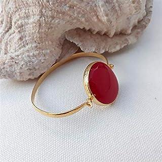 Progettato appositamente, Ottone placcato oro, Bracciale in vetro rosso pastello