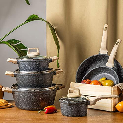 Carote Nonstick Kitchen Cookware Set,10 Pcs Pots and Pans Set Nonstick Cookware Sets, Essetial Woody,Black (10-Pcs Cookware Set)