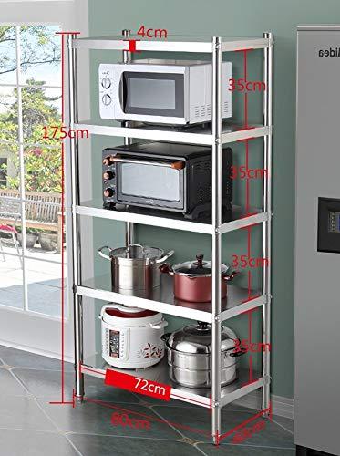 Estante almacenamiento independiente, 7 niveles, estante grande para microondas, despensero, cocina acero inoxidable, tostadora, soporte almacenamiento, organizadores ollas para espacios pequeños