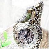 WEHOLY Reloj de Bolsillo Retro Reloj mecánico Hueco Gema de Tiempo Bola de Cristal Collar de Ojo de pez Plata Tabla de Pared Blanca