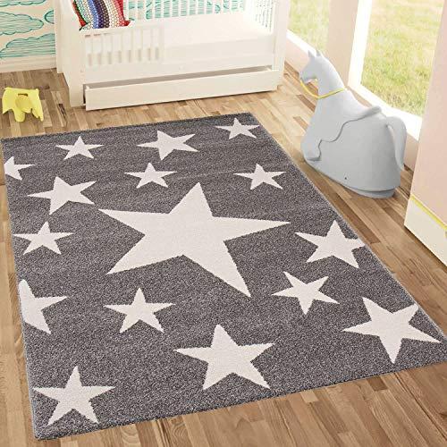Kinderteppich Sky Sterne | Kinderteppich für Mädchen und Jungen | Teppich für Kinderzimmer | Stern | Blau Rosa | Schadstofffrei Kinderzimmerteppiche geprüft von Öko-Tex (Grau, 190x280 cm)