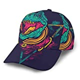 Gorra de béisbol Displate Póster Space Rex Dinosaurios Gorras de béisbol Sombrero Verano Sun Deportes al Aire Libre Snapback Sombreros Negro