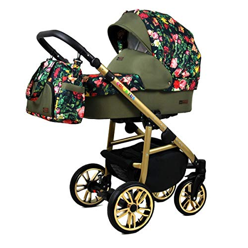 Travel System Stroller Pram 3 in 1 Complete Set with car seat Isofix Baby tub Baby Carrier Buggy Colorlux Gold by ChillyKids Roses Tulips on Black 4in1 car seat +Isofix