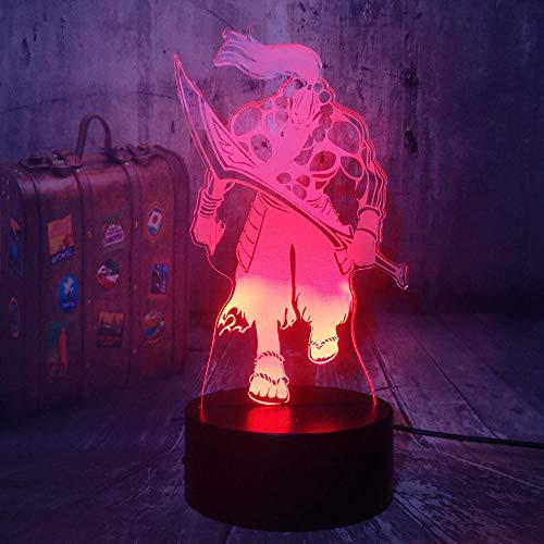 Lámpara de ilusión 3D Led Night Light World Of Warcraft Samuro Lámpara de mesa para amantes del juego Decoración del hogar Regalo de Navidad Wow Souvenir Niños Juguetes Héroes