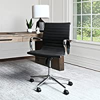 Abbyson Living Sebastian Faux Leather Medium Adjustable Back Office Chair with Armrests (Assorted Colors)