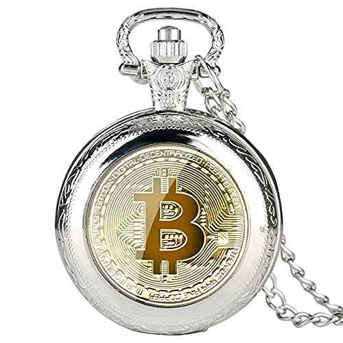 Reloj de Bolsillo de Cuarzo Exquisito diseño de Bitcoin Números Reloj Colgante con Collar Retro para Hombres Mujeres Colección Regalo - Plata 1 tamaño