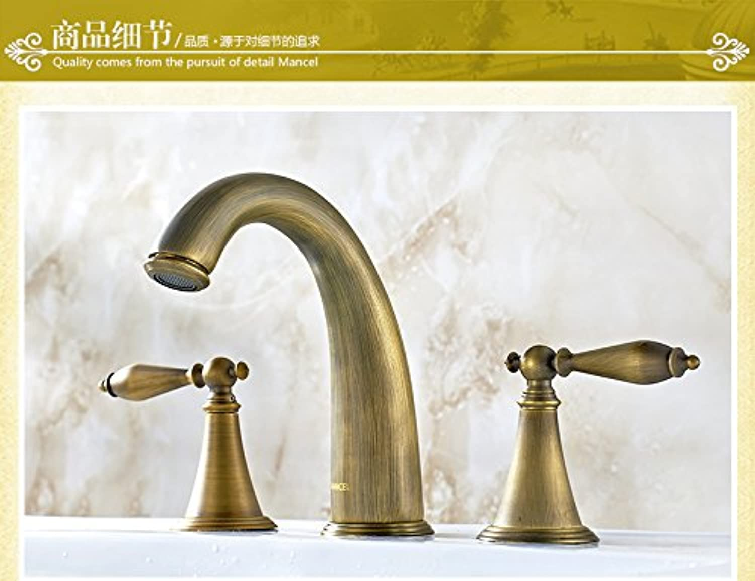 Gyps Faucet Basin Mixer Tap Waterfall Faucet Antique Bathroom Mixer Bar Mixer Shower Set Tap antique bathroom faucet The copper basin faucet antique antique split two to three holes in the antique spl