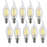 NUOXIN 10 Piezas E14 4W LED Bombillas Vela Filamento Bulbo llama C35 Edison Equivalente Bombilla incandescente E14 40W, Blanca Fría 6500K 400LM AC 220-240V, No Regulable