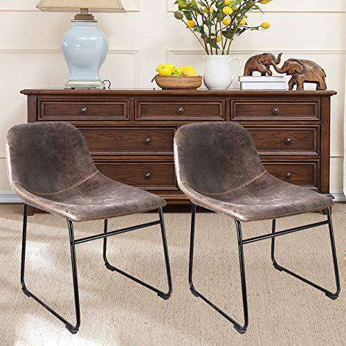 Ukmaster Sedie da pranzo con schienale alto e comodo sedile grande, struttura in metallo marrone vintage casual sedie sedie per colazione, sedie da cucina per sala da pranzo, giardino, caffetteria