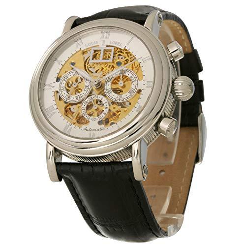 Orologio da uomo Louis Lobel scheletro meccanico a carica manuale con data u8938eb