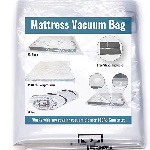 Vakuumbeutel für Matratzen, zum Umzug, Matratze bis zum Bruchteil ihrer Größe, Doppelreißverschluss und auslaufsicheres Ventil, riesige Matratzentasche für bewegliche Gurte, inklusive Twin