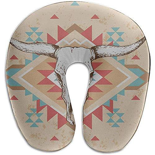 Warm-Breeze Almohada para Cuello Fresco Cabeza de Toro Cráneo con Flores Almohada para Cuello de Espuma con Memoria en Forma de U Almohada de Viaje Almohada con Cuello en U
