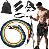 Resistance Bands Set Exercise Bands Home Workouts Include 5 Stackable Exercise Bands with Handles, Carry Bag, Legs Ankle Straps & Door Anchor Attachment for Women Men